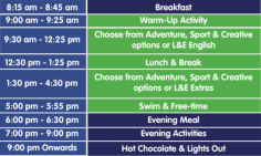 L&E World Camp Timetable